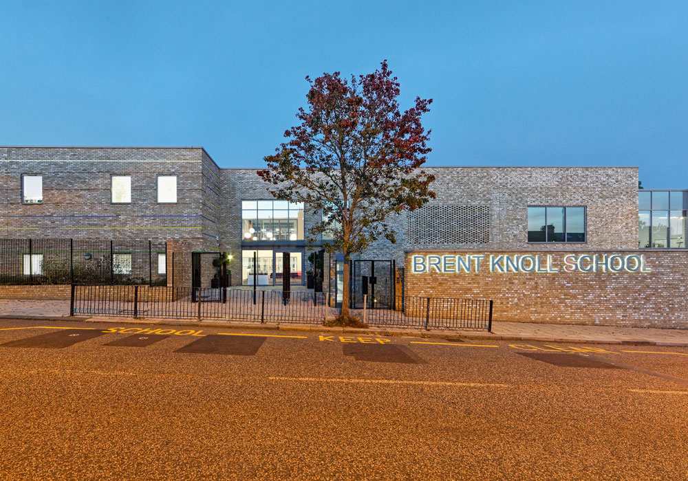 Brent Knoll School is a new build special needs school specifically designed for children with autism. The school is a two-storey building catering for 154 pupils, with classrooms arranged over two wings grouped around the central landscaped courtyard. Teaching facilities include a technology-rich sensory room, and an immersive space with sound, light and pattern projection to restore calm and create audio, visual and tactile experiences.