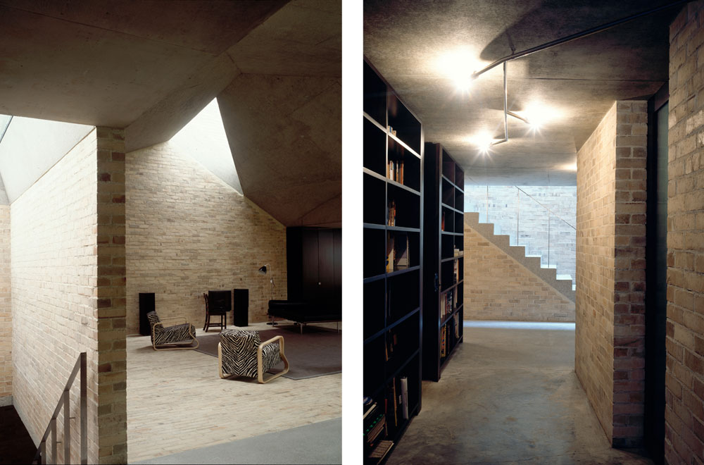 A complex folded concrete ceiling maximises the volume while complying with the neighbours' rights to light, but also gives definition to the different functions carried out in the ground-floor living area and kitchen. Bedrooms are on the lower-ground level and a generous corridor doubles as a library. Each of the bedrooms have a fully glazed wall which opens onto a small private courtyard of its own, effectively doubling the space and exploiting every corner of the triangular site. We provided all mechanical and electrical services for the award-winning project.