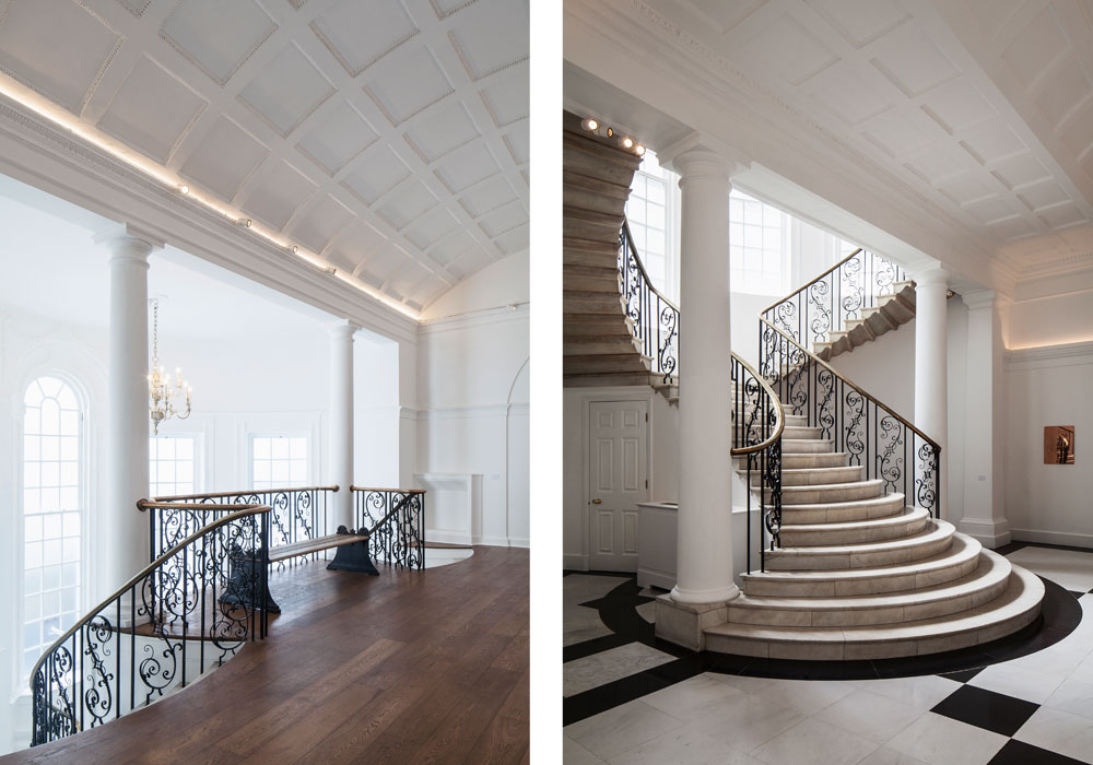 The historic rooms are now reconnected by the restored promenade spaces and feature new hanging walls and cabinetry, allowing for concurrent programming of four shows as well as private viewing, offices and technical workspace. Both staircases have been restored, original chandeliers have been rehung and the central cupola has been uncovered.