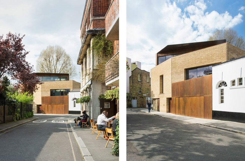 Levring House is located at the end of a mews in the Bloomsbury conservation area. The new four-storey house occupies a prominent corner plot. The superstructure is a reinforced concrete in situ frame, with the top story created from a steel frame and clad in patinated bronze.