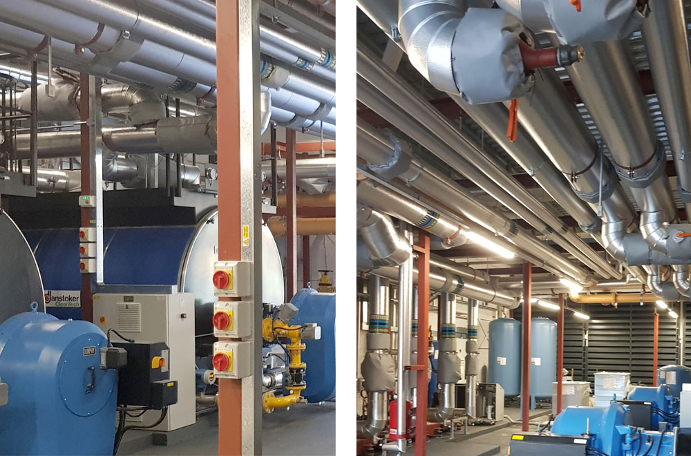 In line with client requirements, our design includes the phased installation of three large shell and tube boilers and CHP engines with associated thermal stores. We have worked to overcome design challenges such as using non-condensing technology in a sustainable network, designing an efficient hydraulic system in line with CIBSE CP1, and ensuring plant nitrogen oxide emissions are in line with the planning requirements.
