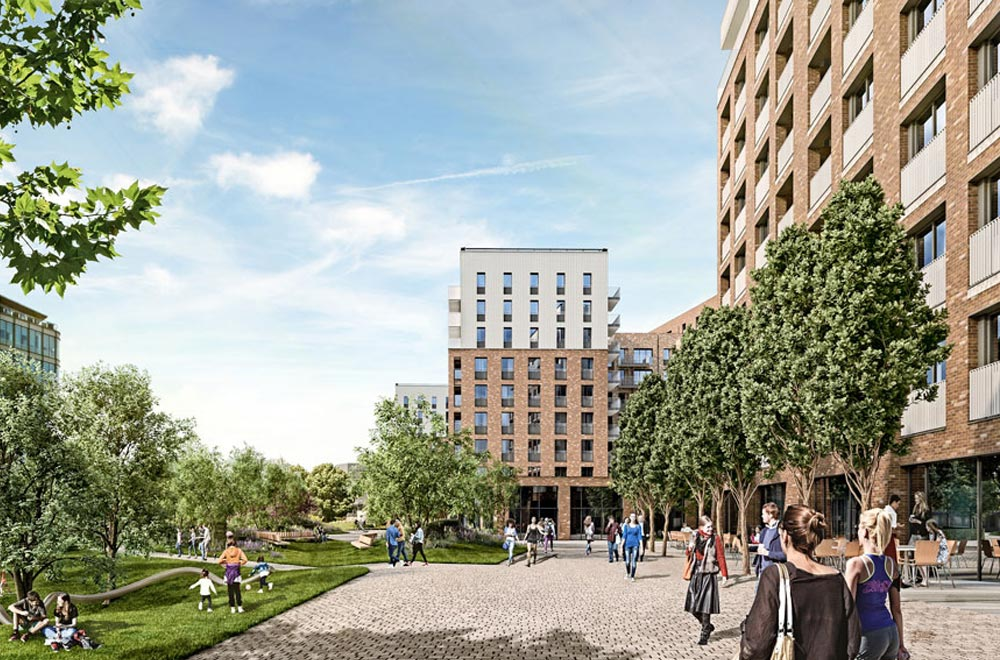 Regency Heights is a new regeneration project in West London. Set on the location of a former Guinness Brewery, the design of the new buildings takes cues from the Brewery's early modern industrial brick architecture and the wider historical context of London mansion blocks.