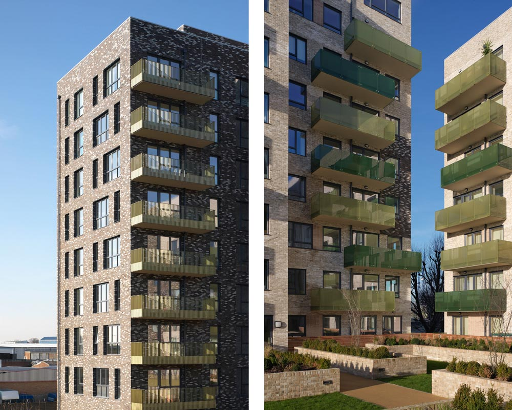 Phase 3.1 is a four-building development containing 124 mixed-tenure apartments adjacent to South Acton overground station. The buildings are arranged around a south facing communal garden overlooking the existing retained allotments.